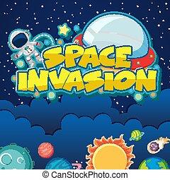 manifesto, astronauta, fondo, sistema solare, disegno