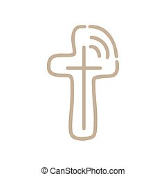 manifesto, broadcast., linea, vettore, monoline, emblema, croce, religioso, disegnare elemento, comunità, illustrazione, segno, life., logotipo, cristiano, concetto, distintivo