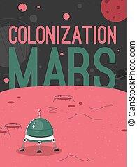 manifesto, concetto, vettore, colonizzazione, marte