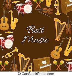 manifesto, cornice, rotondo, musica strumento, musicale