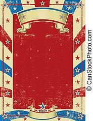 manifesto, cornice, usato, americano, rosso