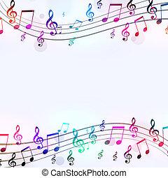 manifesto, note, musica, fresco