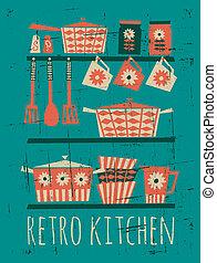 manifesto, retro, cucina