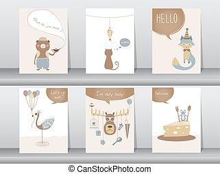 manifesto, set, animali, carino