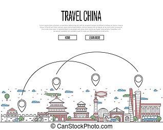 manifesto, stile, porcellana, lineare, viaggiare