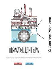 manifesto, viaggiare, macchina fotografica, porcellana