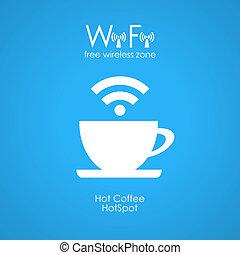 manifesto, wifi, caffè, libero