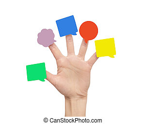 mano., adesivi, dita, multi-colored