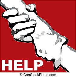mano, afferrato, aiuto