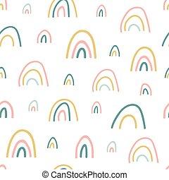 mano, bambino, tessuto, vettore, pastello, pattern., arcobaleno, colors., vivaio, unico, bello, texture., illustrazione, cartone animato, seamless, apparel., fondo, bambini, disegnato, carta da parati, arcobaleni, shower., carino