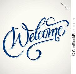 mano, benvenuto, (vector), iscrizione