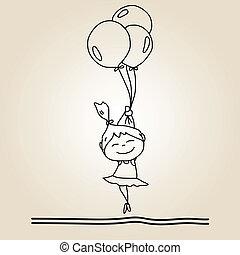mano, cartone animato, felicità, disegno