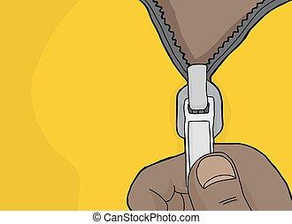 mano, chiusura lampo, cartone animato, apertura