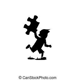 mano, correndo, puzzle, bambini, silhouette