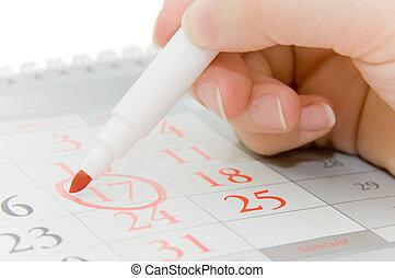 mano, data, scrittura, importante