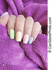 mano, decorato, pelliccia, bello, femmina, elegante, manicure, multicolor
