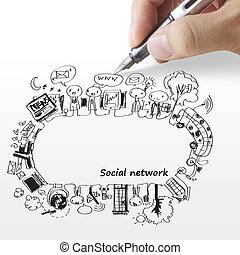 mano, disegnare, rete, sociale