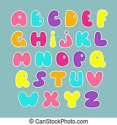 mano, disegnato, font., carino, alphabet., divertente, vettore, comics