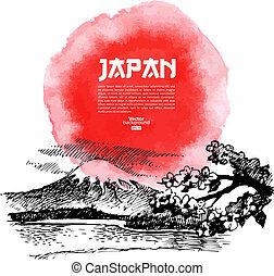 mano, fondo, sushi, acquarello, schizzo, illustration., disegnato, giapponese