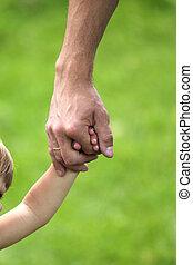 mano, genitore, bambino