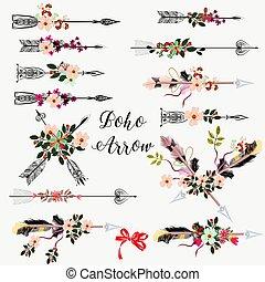 mano grande, disegnato, set, fiori, frecce, boho