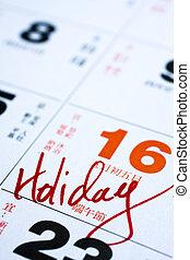 mano, importante, data, scrittura, calendario, vacanza