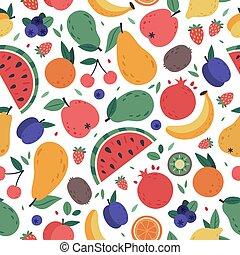 mano, involucro, vettore, disegnato, banana, frutte, pattern., carta, fondo, vegan, anguria, fragola, seamless, menu, tessuto, colorito, vegetariano, pasto, scarabocchiare, mango, frutte, o