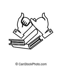 mano, lavoro squadra, insieme, educazione, impegno, libro, contorno, logotipo