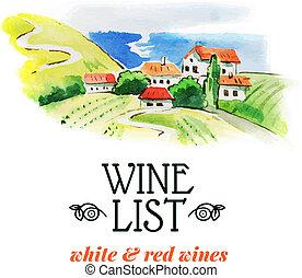 mano, list., vino, acquarello, schizzo, illustration., disegnato