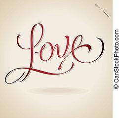 mano, 'love', (vector), iscrizione