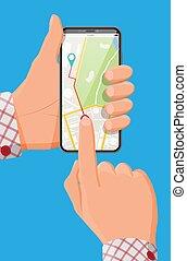 mano, moderno, mappa, pennarello, smartphone