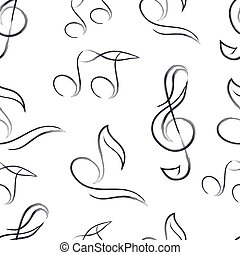 mano, nota, musica, stile, disegnato, modello, seamless