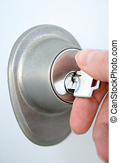 mano, porta, sbloccando, chiave