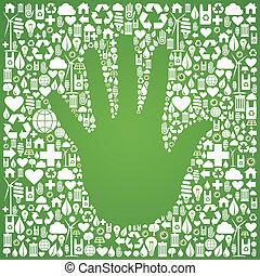 mano, sfondo verde, icone