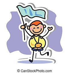 mano, sport, disegno, icona, cartone animato