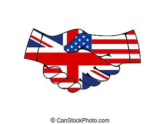 mano, stati uniti, gran bretagna, scuotere, bandiere, trattato, grande
