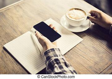 mano, tavola, ragazza, vuoto, tazza, legno, caffè, diario, smartphone