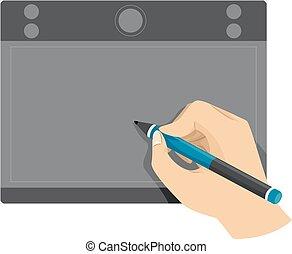mano, tavoletta, usando, penna