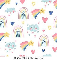 mano, tessuto, arcobaleni, bambini, bambino sorridente, fondo., stars., shower., illustrazione, nursery., scarabocchiare, carta da parati, modello, nubi, apparel., carino, disegnato, disegno, involucro, seamless, vettore, cielo