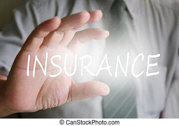 mano, uomo affari, assicurazione