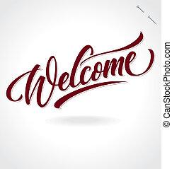 mano, (vector), iscrizione, 'welcome'