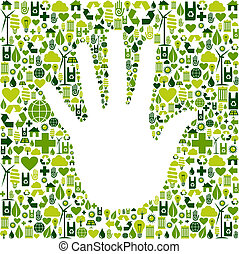 mano, verde, uomo, icone