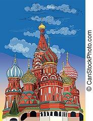 mano, vettore, moscow-6, colorito, disegno