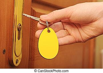 mano, vuoto, chiave, etichetta