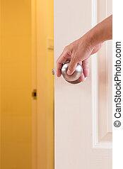 manopola, bloccaggio, uomo, porta, mano