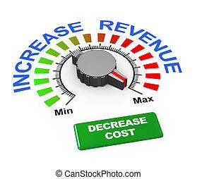 manopola, reddito, -, aumento, costo, diminuzione, 3d