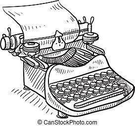 manuale, vendemmia, schizzo, macchina scrivere