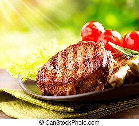 manzo, bbq., verdura, esterno, bistecca, carne cotta, barbecue