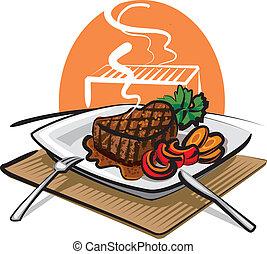 manzo, cotto ferri, bistecca