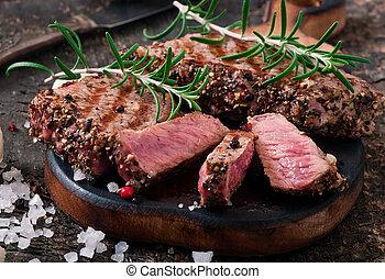 manzo, raro, succoso, bistecca, mezzo